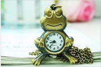 Wholesale Vintage Bronze Frog - Vintage fashion quartz watches Han edition sweater chain frog pendant Necklace pocket watch