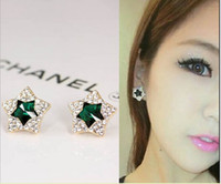 Wholesale Jewelry star crystal stud earrings for women high quality bijoux elegant earrings colors for choose made with alloy