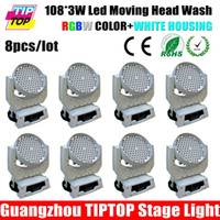 Iluminación De Cabeza Móvil Blanco Baratos-8pcs mayor-TIPTOP TP-L608X / lot RGBW Led Moving Case White 12CH 3W Etapa Profesional Iluminación American DJ Head Light Wash Light 108pcs