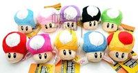 Wholesale Super Mario Toad Plush - DHL 7cm Super Mario Plush Keychain Toad Mushroom Stuffed Dolls Plush Keychains Pendants Super Mario Brothers Anime Stuffed Toy Free Shipping