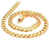 """Wholesale Thick Figaro Chain - Free shipping Thick Wholesale Men's 18k yellow gold filled necklace 24""""Figaro chain 7mm wide 24g Men's GF Jewelry"""