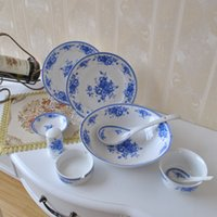 Wholesale Supply Antique Jingdezhen blue and white bone china ceramic tableware Gift Set quot Royal Rose quot