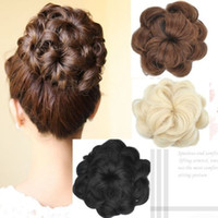 Wholesale Hair Wave Maker - New Womens Diam 12cm Curly Wave Buns Donut Bride Chignons Hairpiece Hair Extensions Cover Wrap Maker Hair Accessories FJ06A
