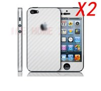 Wholesale Iphone 4s Carbon Fiber Stickers - Wholesale-2pcs lot Full body Carbon Fiber style Protective Skin Sticker for iPhone 4 4S Free shipping White