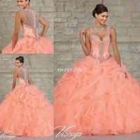 Wholesale Peach Ruffle Ball Gown in Bulk from Best Peach Ruffle ...