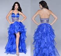 Wholesale Halter Sweetheart Chiffon Short - Wholesale - Hot Sale Royal Blue Prom Dress 2015 with Halter Sweetheart Ruched Organza High Low Prom Party Gowns Backless Formal Evening Dres
