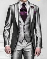 Wholesale Silver Shiny Suit - New Shiny Slim Fit Groom Tuxedos Silver Grey Best Man Peak Lapel Groomsman Men Wedding Dinner Suits Bridegroom(