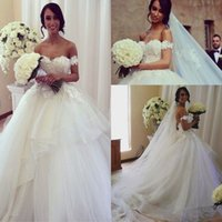 Wholesale Empire Waist Off Shoulder Dress - 2017 Sexy Off the Shouler Lace Appliqued Ball Gown Wedding Dresses Empire Waist Layers Puffy Skirt Princess Bridal Gowns Vestidos De Noiva