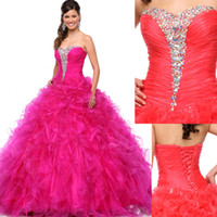 Wholesale Black Sequin Skirt Small - Hottest Fuchsia Balll Gown Prom Dresses 2016 Coral Quinceanera Dresses Beaded Sweetheart Rich Small Ruffles Skirt Plus Size Prom Gowns