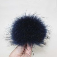Wholesale real white fox hat - Wholesale-15cm Real Raccoon Fur Pom Pom Large Fox Fur Pompom For Hat Bag Scarf Gloves Black White Navy Red Rose Purple Gray Coffee Blue