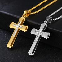 placas de fé venda por atacado-2017 Crucifixo Cruz Pingente de Colar Pulseira de Ouro / prata Gun Banhado / Aço Inoxidável Moda Jóias Religiosas para As Mulheres / Homens Colar de Fé