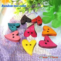 Wholesale Craft Wood Buttons Bulk - New 200 pcs lot Lovely multicolor Heart Shape wooden buttons mix bulk Wood Sewing button botoes Craft Scrapbooking 19mm*17mm