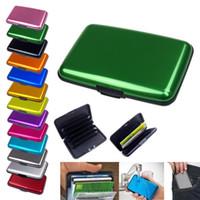 porta tarjetas de bolsillo de aluminio al por mayor-Nuevo Business ID Credit Card Holder Monedero Pocket Case Aluminio Indestructible