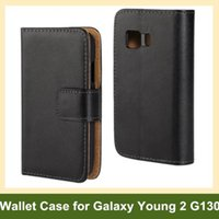Wholesale Galaxy Young Wallet - Wholesale Luxury Genuine Leather Wallet Flip Cover Case for Samsung Galaxy Young 2 G130 with Folding Function Free Shipping