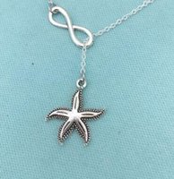 Wholesale Vintage Sewing Scissors - Vintage Silver lariat Infinity Starfish Scissors Mirror Sea Horse Fleur De Lis Sewing Machine Necklace Pendant Women Jewelry Gift