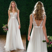 Wholesale Watters Wedding Dress - New Arrival 2017 Watters Elegant Wedding Dress A line Deep V Neck Sheer Illusion Floor length Hollow Back Beading Lace Bridal Gown EM03641