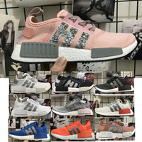 Wholesale Green Sequin Shoes - 2018 NMD R1 Sequins Diamonds ultra boost Sneaker Women's Running Shoes fashion Sport