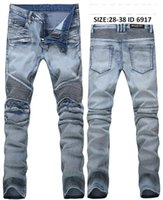 Wholesale Men Jeans Thickening - New Arrive Skinny water wash Motorcycle mens jeans desinger BL6917 in single cow thickened Slim paris top quality plugs men's jeans