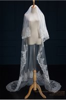 Wholesale soft white wedding veils for sale - Group buy Cheap Bridal Veils Long Veils Soft Tulle Beaded Long Veil with Lace Cathedral Veils White Ivory Veils for Wedding Events