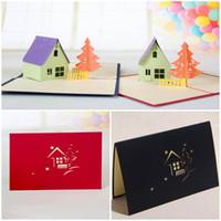 costume feliz aniversário venda por atacado-50 PCS Árvore Hourse 3D corte a laser pop up papel artesanal cartões postais personalizados de Natal feliz aniversário cartões presentes para as crianças
