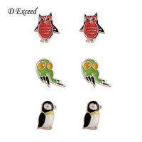 Wholesale Small Owl Stud Earrings - Fashion Small Animail Stud Earrings for Girls Owl Penguin Bird Stud EaringEnameled Jewelry Free Shipping ER140573