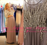 Wholesale Light Pink Glitter Prom Dresses - Vestidos Evening Dresses 2015 Crew Neck Illusion Crystal Beading Glitter Chiffon Grey Empire For Maternity Pregnent Dress Formal Prom Gowns
