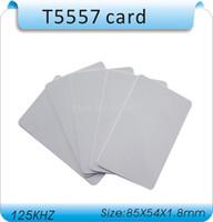 tarjeta de proximidad blanca al por mayor-Envío gratis (50 unidades) 125Khz RFID grabable chips / T5577 / T5557 tarjetas de proximidad PVC blanco regrabable