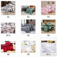 Wholesale Wholesale King Size Quilt Sets - 8pcs Silk satin comforter bedding sets California king quilt duvet cover bedsheet fitted sheets bed in a bag queen size bedspreads linen
