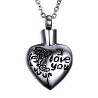 """Wholesale E Chain - Stainless Steel Memorial jewelry Heart carved roses"""" I LOVE YOU"""" Urn Pendant Ashes Necklace Keepsake e with gift bag and chain"""