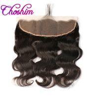 saçlı ön kapak toptan satış-Choshim Vücut Dalga İnsan Saç 13x4 Inç Kulak Dantel Ön Frontal Kapatma Ücretsiz Bölüm% 130% Yoğunluk El Tied Remy Saç 1 Parça