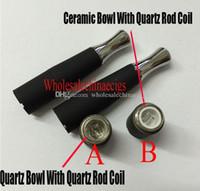 Wholesale m7 dual for sale - Group buy 2016 skillet wax atomizer double coil skillet quartz Tube Bowl Dual Coil atomizer Ego M7 D atomizer wax burning Ceramic quartz vaporizer