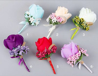 corsages azuis do casamento venda por atacado-Flor Artificial Bouquets De Noiva Casamento Beads Dama de Honra Groomsman Corsage Lavanda Vermelho Rosa Roxo Branco Azul Champagne Flores