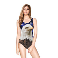 Wholesale Animal Print Monokini Swimwear - Parrot and eagle 3D print backless swimwear one piece swim suit sleeveless O neck high waist bathing suits beach wear monokini
