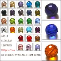 Wholesale Multi Color Glass Beads - StreBelle Mixed color crystal round bead 8MM multi color glass beads crystal rondelles beads AAA Grade 288PCS