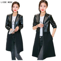 Wholesale women s korean trench coat - Wholesale- Woman Korean Trench Coat Spring Autumn Women's Slim Fit Trench Coat Long Outerwear Leather Patchwork cardigan black