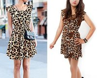 Wholesale Drop Shipping Girl S Clothing - Fashion women girl leopard grain printed dress lady sexy night out club mini dresses A-line street style summer clothing gift drop shipping