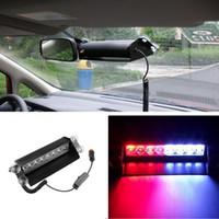 Wholesale Police Dash Lights - DC12V 8 Led Red Blue Car Police Strobe Flash Light Dash Emergency Warning 3 Flashing Light