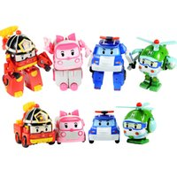 Wholesale Plastic Toy Police Car - Robocar poli deformation car toys 4 styles police car fire truck ambulance helicopter mixed for kids toys