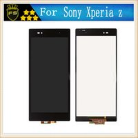 Wholesale Xperia Z Lcd - For Sony xperia z white and black Full New LCD Display Panel Touch Screen Digitizer Glass Assembly With Frame Replacement