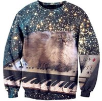 Pullover space cat sweater - Hot Space Cat kitty Love Piano designer t shirt sweatshirt size women XXL men s fashion casual top hooded long sleeve sweater coat outwear