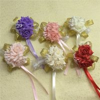 Wholesale Corsage Boutonniere Wholesale - Free shipping wholesale Wedding Prom Wrist Corsage with bracelet Silk Rose boutonnieres and corsages decorative flowers&wreath