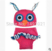 Wholesale Toddler Crochet Owl Hat Pattern - Handmade Knitted Toddler Animal baby photo Pattern Lovely Children Owl Hat newborn photography props SYL104 props hand