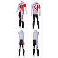 Wholesale Mens Bike Pants - Latest Pro Team Cycling Jersey Set Long Sleeve White Red Shirt and Bib Pants Mens Bike Suits Customer-made Cycling Jerseys Quick-dry
