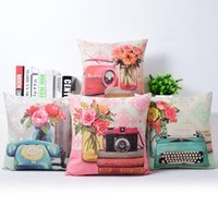 Wholesale Vintage Camera Cases - pink still life cushion cover elegant floral throw pillow case vintage radio telephone funda cojines camera almofadas