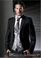Wholesale Man S Suit Size 46 - Groom Tuxedos 2016Hot Sale Wedding Formal Black Men`s 3 pieces suits (suits+pants+vest)