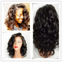 Wholesale Long Bob Wigs Bangs - unprocessed brazilian glueless full lace short human hair wigs with bangs short wavy bob lace front wig for black women 2017