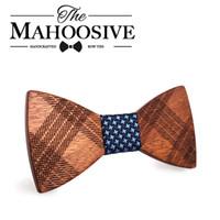 Wholesale Gravatas Slim - Wholesale- Mahoosive Wood Bow Ties for Mens Wedding Suits Wooden Bow Tie Butterfly Shape Bowknots Gravatas Slim Cravat