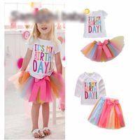Wholesale rainbow acrylic - Girls Birthday Shirt + Bow Skirt Kids Party White Tees Tops Girls Clothing Suits Skirts Summer Rainbow Skirt
