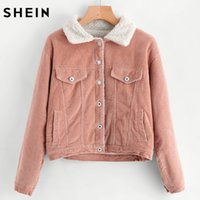 SHEIN Sherpa Faux Fleece Rivestimento Corduroy Trucker Giacca Casual Giacca Invernale Donna Rosa Lapel Giacca Singola Breasted q1113