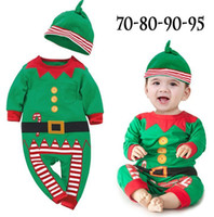 Wholesale Cute Santa Girl Outfit - Cute Baby Girl Jumpsuit Santa Christmas Hat+ Romper Boys Jumpsuit Top Clothes Outfit Baby Christmas One-piece Romper